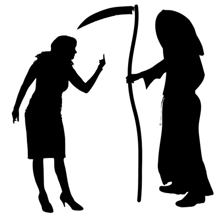 sneer: Vector silhouette of a woman with the Grim Reaper on a white background.