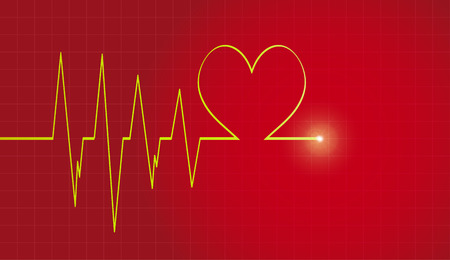 heart monitor: Vector background with life line on red background. Illustration