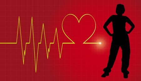 Vector background with life line on red background. Ilustração