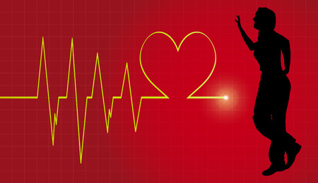 Vector background with life line on red background. Vector