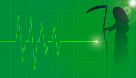 life line: Vector background with life line on green background.