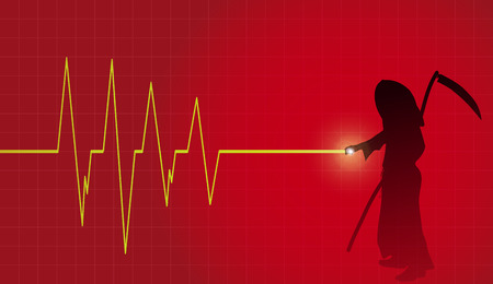 cardiograph: Vector background with life line on red background. Illustration