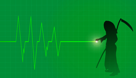 Vector background with life line on green background. Vector