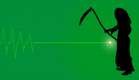 Vector background with life line on green background.