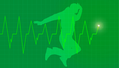 salubrity: Vector background with life line on green background.