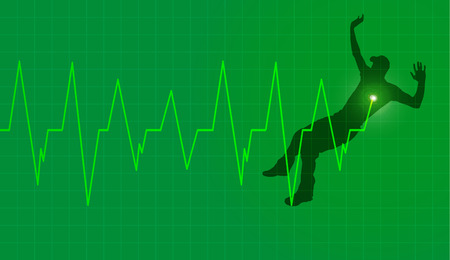 healt: Vector background with life line on green background.