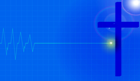 life line: Vector background with life line on blue background.