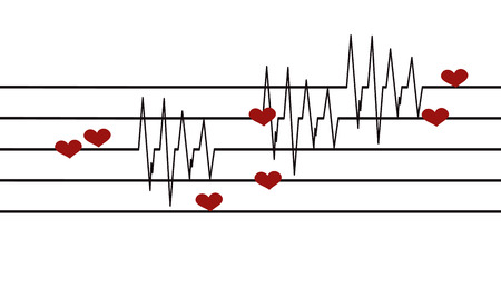cardiograph: Vector background with life line on white background.