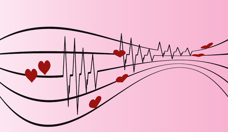 ecg monitoring: Vector background with life line on pink background.