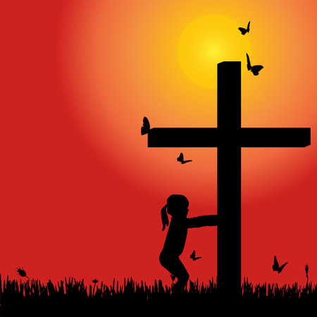 fanaticism: Vector silhouette girl at the cross at sunset. Illustration