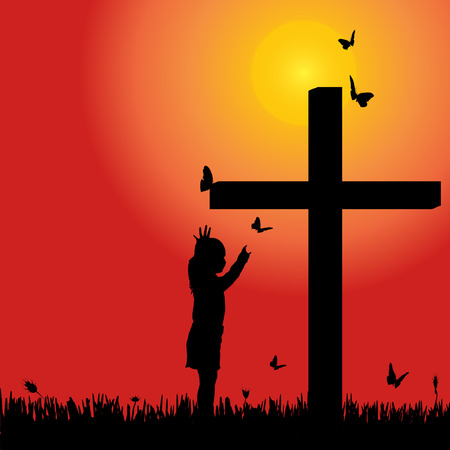 silhouette girl at the cross at sunset. Vector