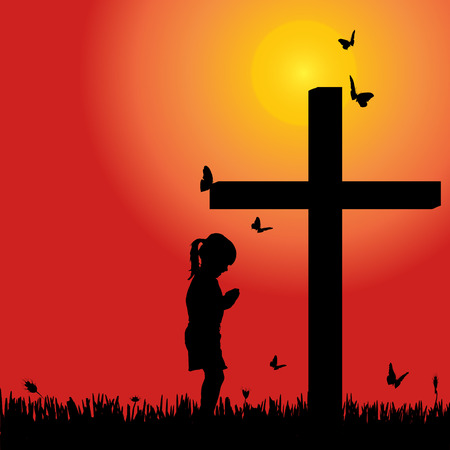 fanatics: Vector silhouette girl at the cross at sunset. Illustration