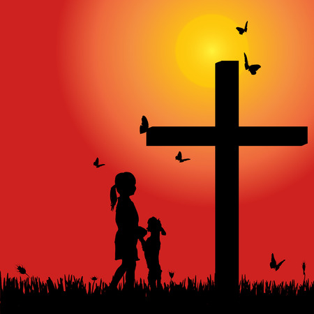 Vector silhouette girl at the cross at sunset. Illustration