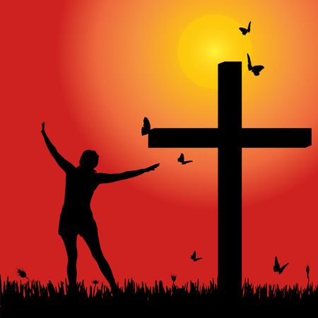 fanatics: Vector silhouette of woman at the cross at sunset.