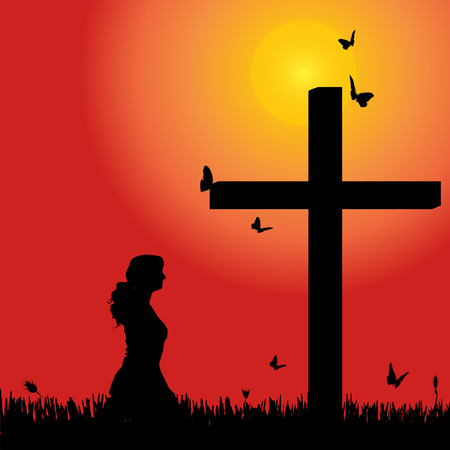 meditaion: Vector silhouette of woman at the cross at sunset.