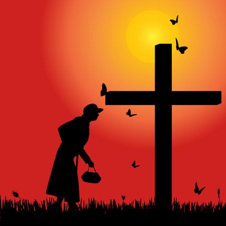 fanatics: Vector silhouette of old woman at the cross at sunset.