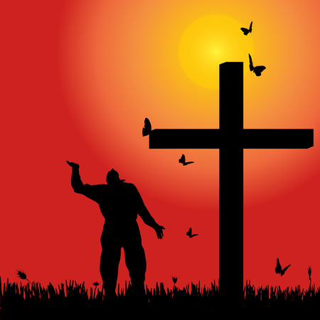 fanaticism: Vector silhouette of man at the cross at sunset.