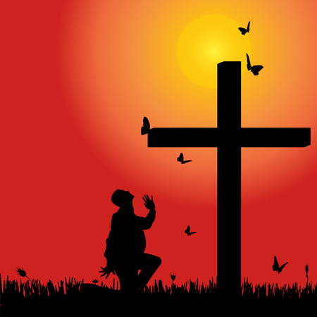 fanatics: Vector silhouette of man at the cross at sunset.