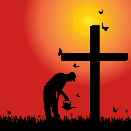 fanaticism: Vector silhouette of old man at the cross at sunset. Illustration