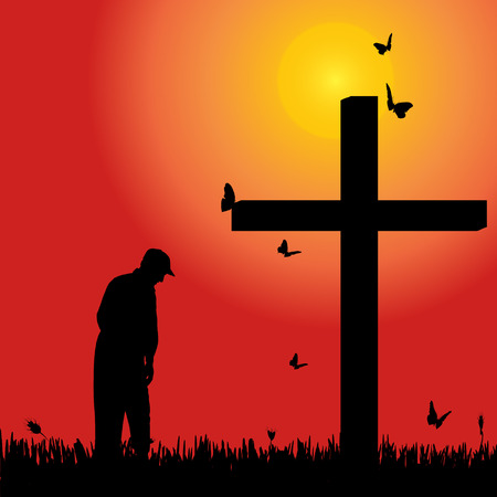 fanatics: Vector silhouette of old man at the cross at sunset. Illustration