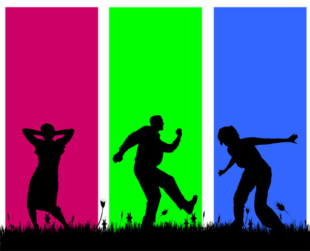 Vector silhouettes of people on a colored background. Vector