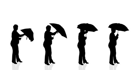 Vector silhouette of a woman on a white background. Vector