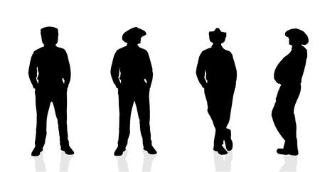 hombre con sombrero: Vector silueta de hombre sobre fondo blanco.