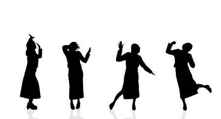 Vector silhouette of a woman who dances on a white background. Illustration
