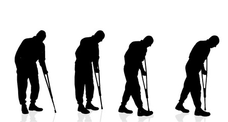 crutch: Vector silhouette of old man on white background.