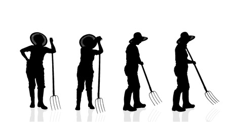 woman gardening: Vector silhouette of a gardener on a white background.