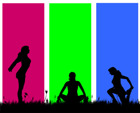 yoga outside: Vector silhouettes of women on a colored background.