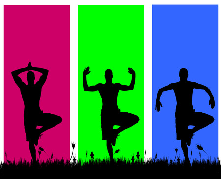 yoga outside: Vector silhouettes of men on a colored background.