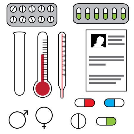 Vector illustration with hospital instruments on white background. Vector