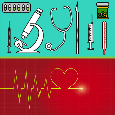 hypodermic needle: Vector illustration with hospital instruments on green background.