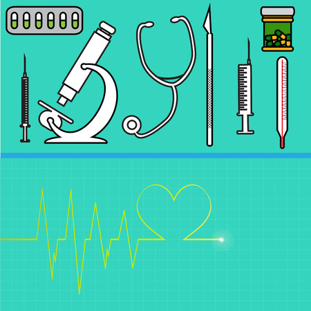insulin syringe: Vector illustration with hospital instruments on green background.