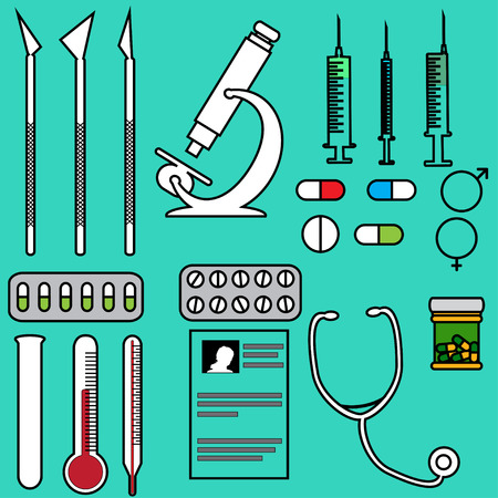 Vector illustration with hospital instruments on green background. Vector