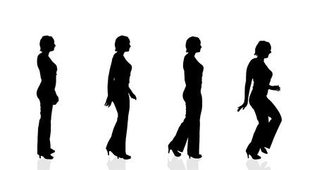 woman run: Vector silhouette of a woman on a white background.