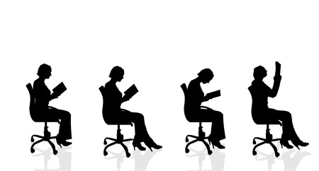 Vector silhouette of a woman who is sitting in a chair on a white background. Vettoriali