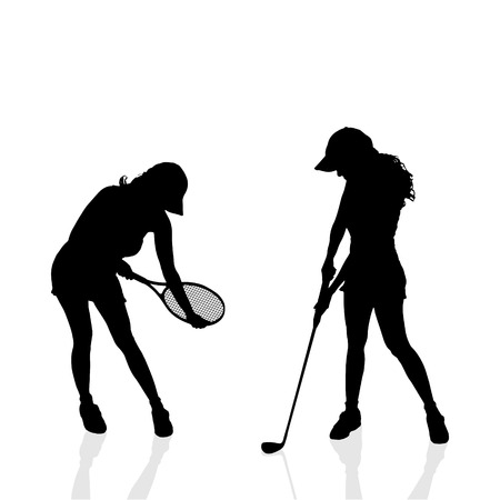 Vector silhouettes of women in sport on a white background. Vector