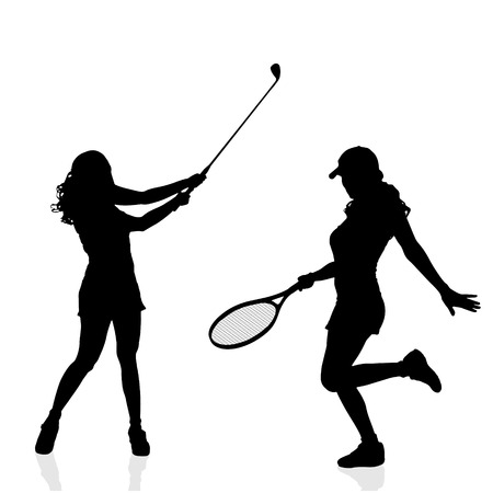 girl tennis: Vector silhouettes of women in sport on a white background.