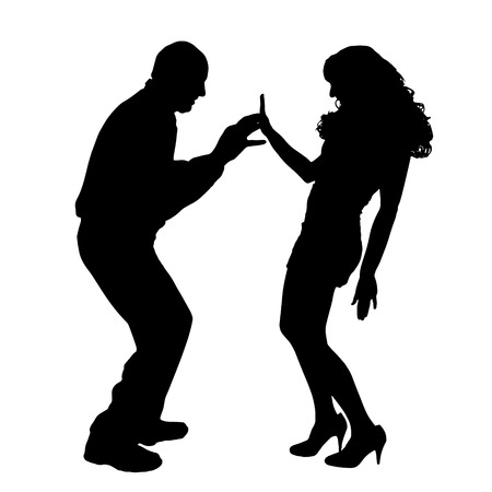 ladylove: Vector silhouette of couple dancing on a white background.