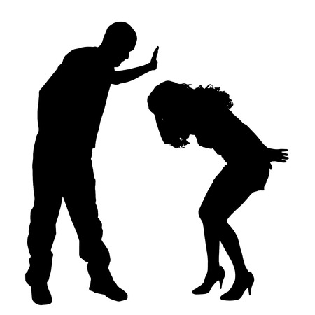 slap: Vector silhouette of couple on a white background. Illustration