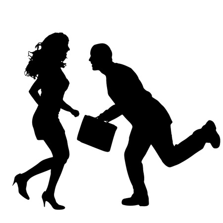 ladylove: Vector silhouette of couple that runs on a white background.