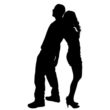 Vector silhouette of couple on a white background. Illustration