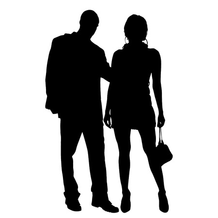 ladylove: Vector silhouette of couple on a white background. Illustration