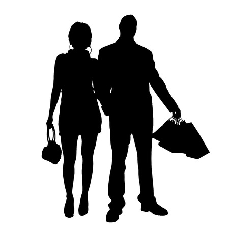 rich girl: Vector silhouette of couple on a white background. Illustration