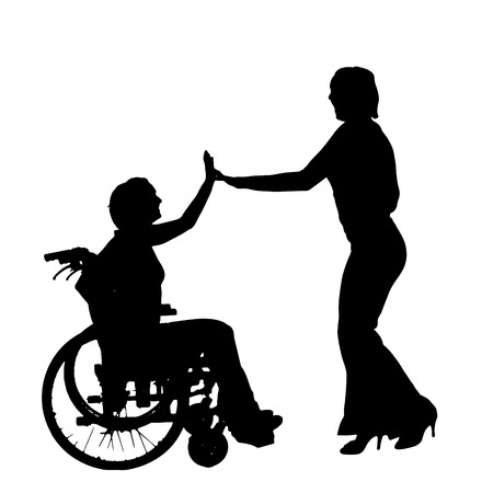 Vector silhouette of couple dancing on a white background. Vector