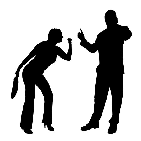 ire: Vector silhouette of couple on a white background. Illustration