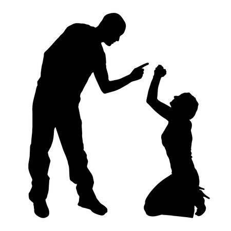 maltreatment: Vector silhouette of couple on a white background. Illustration
