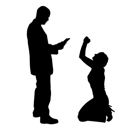 pity: Vector silhouette of couple on a white background. Illustration